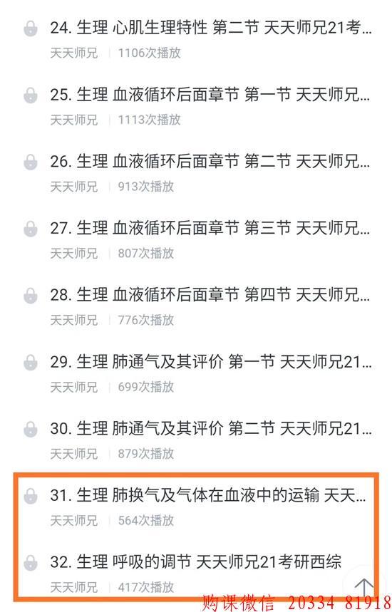 2021天天师兄考研西医综合全程班:生理学31、32节